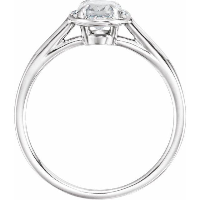 14K White 7x5 mm Oval White Topaz & .04 CTW Diamond Ring