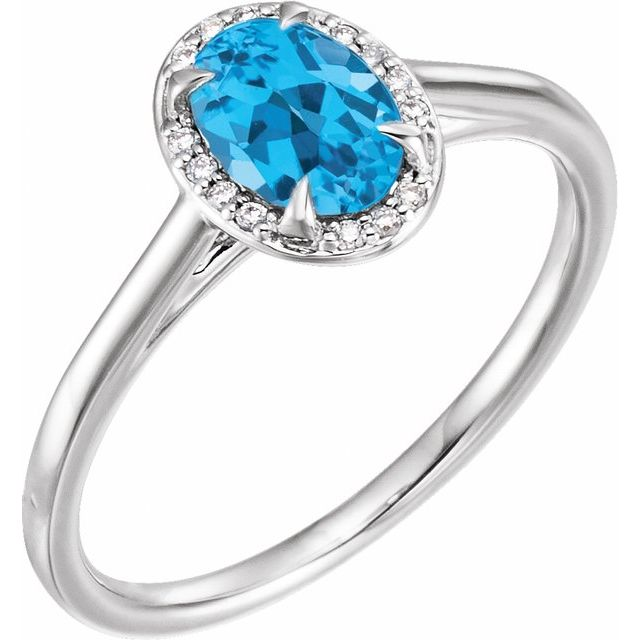 14K White 7x5 mm Oval Swiss Blue Topaz & .04 CTW Diamond Ring