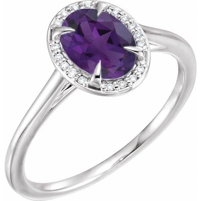 14K White 8x6 mm Oval Amethyst & .05 CTW Diamond Ring