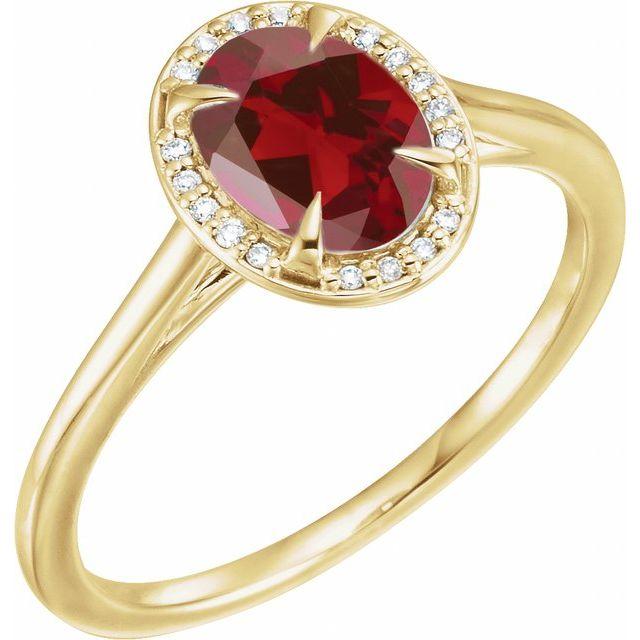 14K Yellow 8x6 mm Oval Mozambique Garnet & .05 CTW Diamond Ring