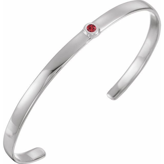 """Sterling Silver Ruby Cuff 6"""" Bracelet"""