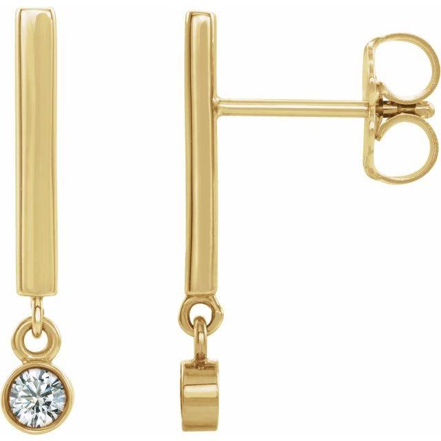 14K Yellow 1/8 CTW Diamond Bar Earrings