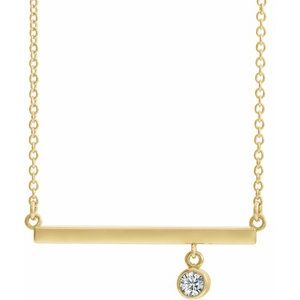 "14K Yellow Diamond Bezel-Set 18"" Bar Necklace"