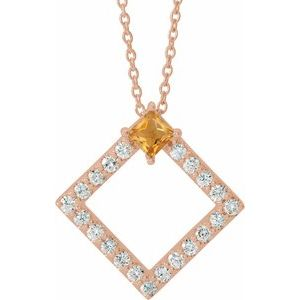 "14K Rose Citrine & 3/8 CTW Diamond 16-18"" Necklace"