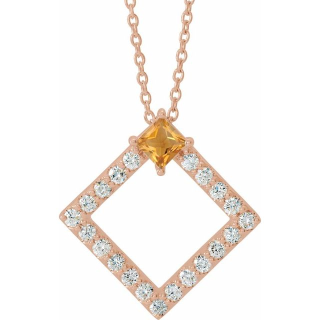 14K Rose Citrine & 3/8 CTW Diamond 16-18