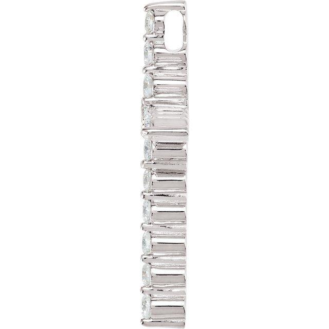 14K White 1/2 CTW Diamond Cross Pendant