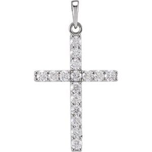 14K White 3/4 CTW Diamond Cross Pendant