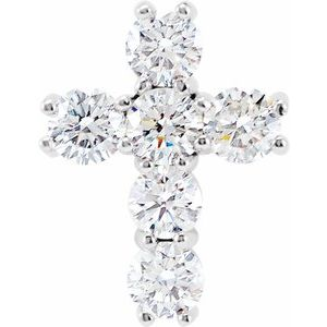 14K White 9/10 CTW Diamond Cross Pendant