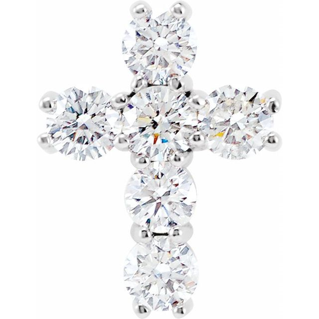 14K White 9/10 CTW Diamond Cross Pendant