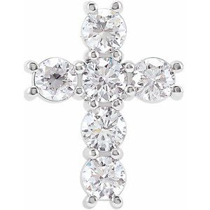 14K White 1 1/6 CTW Diamond Cross Pendant