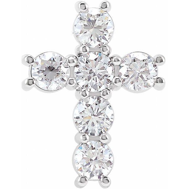14K White 1 1/6 CTW Diamond Cross Pendant