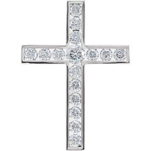 14K White 1 1/2 CTW Diamond 32.4x23.6 mm Cross Pendant