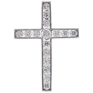 14K White 1/3 CTW Diamond 20.4x14.9 mm Cross Pendant