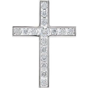 14K White 3/4 CTW Diamond 26.1x18.9 mm Cross Pendant