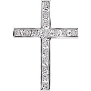 14K White 1/4 CTW Diamond 17.5x12.6 mm Cross Pendant