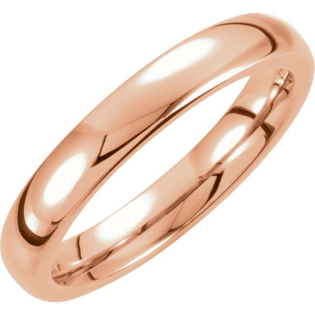 Tungsten with 18K Rose Gold PVD 4 mm Half Round Band Size 5