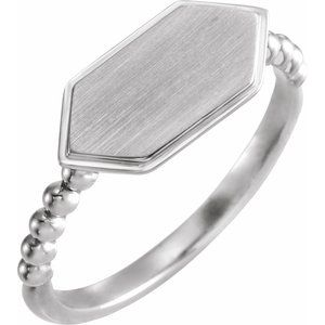 Sterling Silver 15x7 mm Geometric Signet Ring