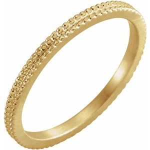 14K Yellow 1.5mm Beaded Band Size 8