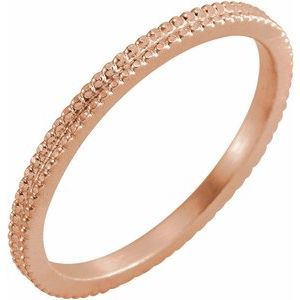 14K Rose 1.5mm Beaded Band Size 6