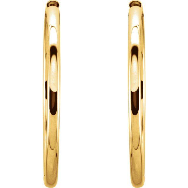 14K Yellow 34.2 mm Hinged Hoop Earrings