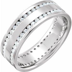14K White 1 1/6 CTW Diamond Flat Band Size 12