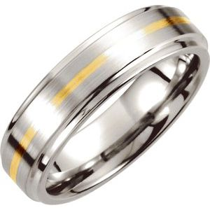 Cobalt & 14K Yellow Inlay 6 mm Ridged Band Size 8