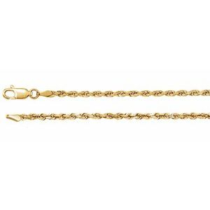 "14K Yellow 2.5 mm Diamond Cut Rope 18"" Chain"