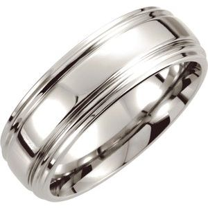 Cobalt 8 mm Double Ridged Band Size 10