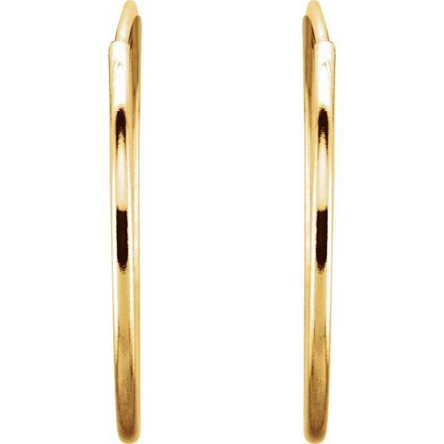 14K Yellow 20 mm Endless Hoop Earrings