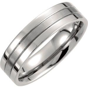 Titanium 6 mm Grooved Band Size 8.5