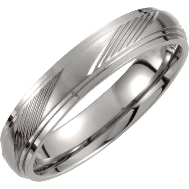 Titanium 5 mm Ridged Band Size 6