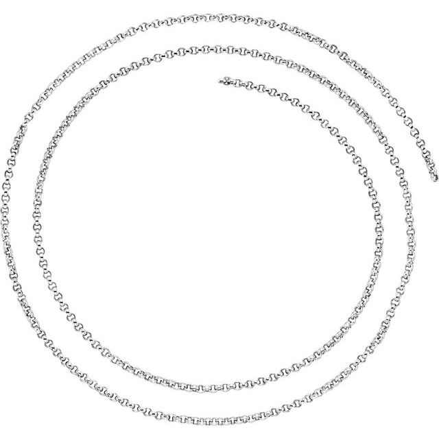 Sterling Silver 2 mm Rolo Chain by the Inch