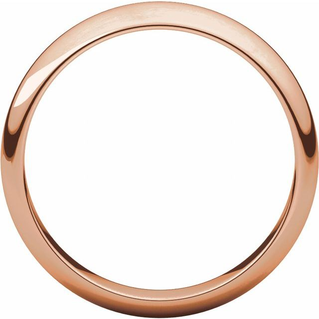 14K Rose 4 mm Half Round Band Size 9.5