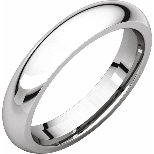 14K White 4 mm Half Round Comfort Fit Band Size 9.5