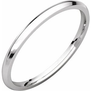 18K White 1.5 mm Half Round Comfort Fit Light Band Size 5.5
