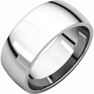 Sterling Silver 8 mm Half Round Comfort Fit Light Band Size 11.5