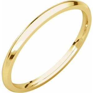 14K Yellow 1.5 mm Half Round Comfort Fit Light Band Size 4