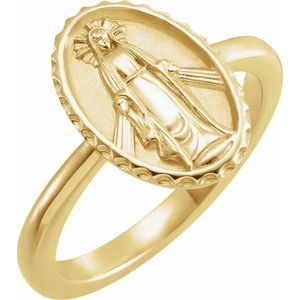 14K Yellow Miraculous Medal Ring