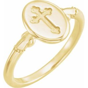 14K Yellow 11.5x8.8 mm Oval Cross Signet Ring
