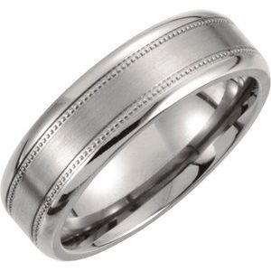 Titanium 7 mm Satin Finish Center & Polished Milgrain Band Size 13