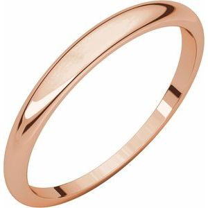 14K Rose 2.5 mm Half Round Tapered Band Size 5.5