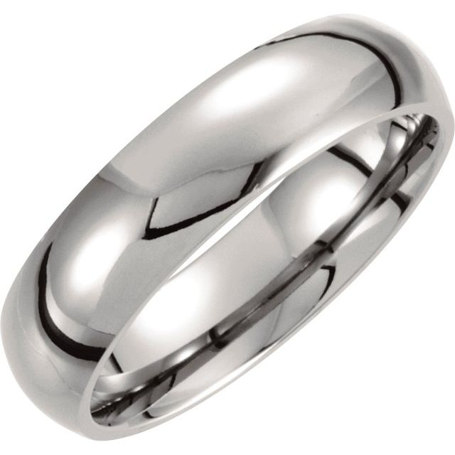 Titanium 6 mm Domed Polished Band Size 6