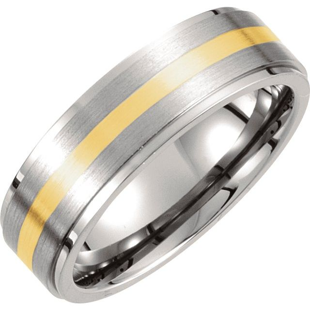 Titanium & 14K Yellow Inlay 7 mm Ridged & Satin Finished Band Size 13