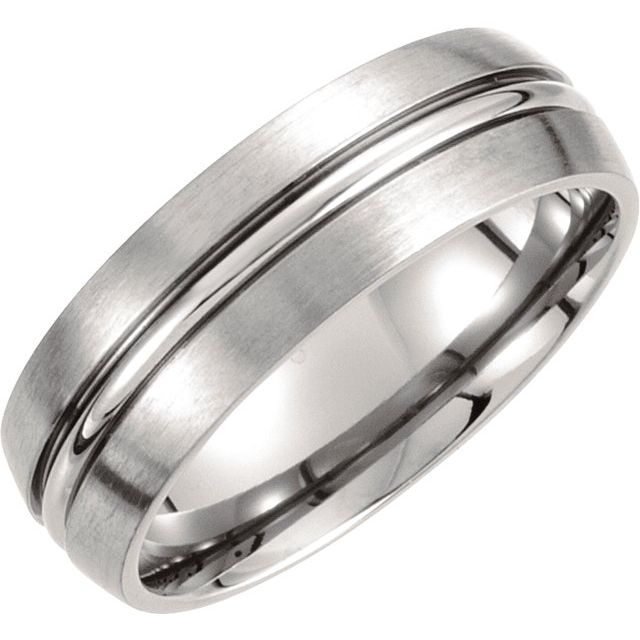 Titanium 7 mm Grooved & Satin Finished Band Size 9.5