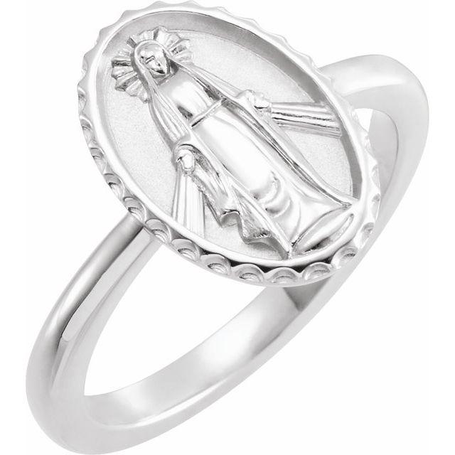14K White Miraculous Medal Ring