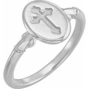 Sterling Silver 11.5x8.8 mm Oval Cross Signet Ring