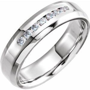 14K White 1/4 CTW Diamond Beveled Edge Band Size 10