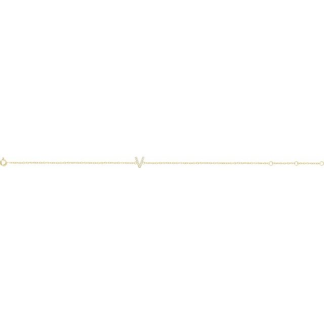 14K Yellow .05 CTW Diamond Initial V 6-7