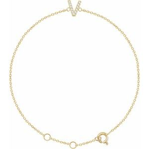 "14K Yellow .05 CTW Diamond Initial V 6-7"" Bracelet"