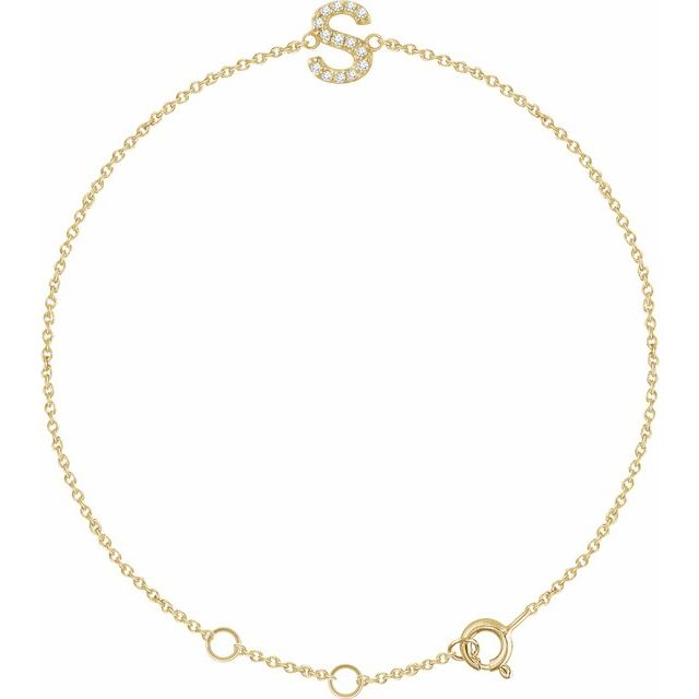 "14K Yellow .05 CTW Diamond Initial S 6-7"" Bracelet"